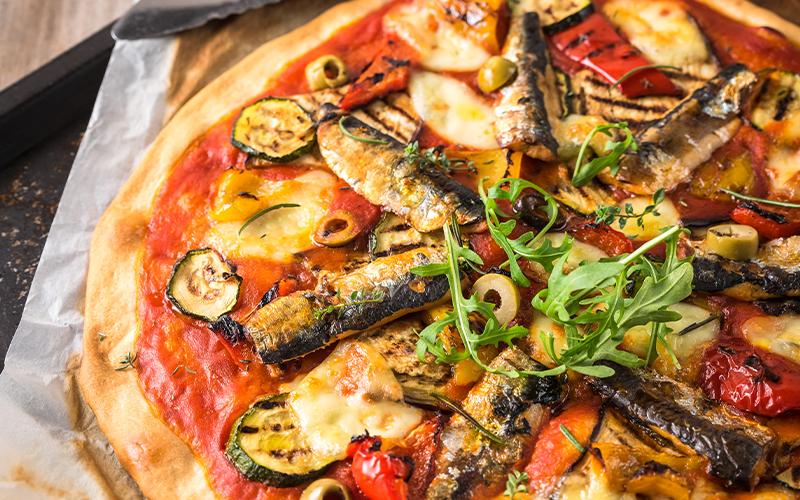 Pizza met sardines