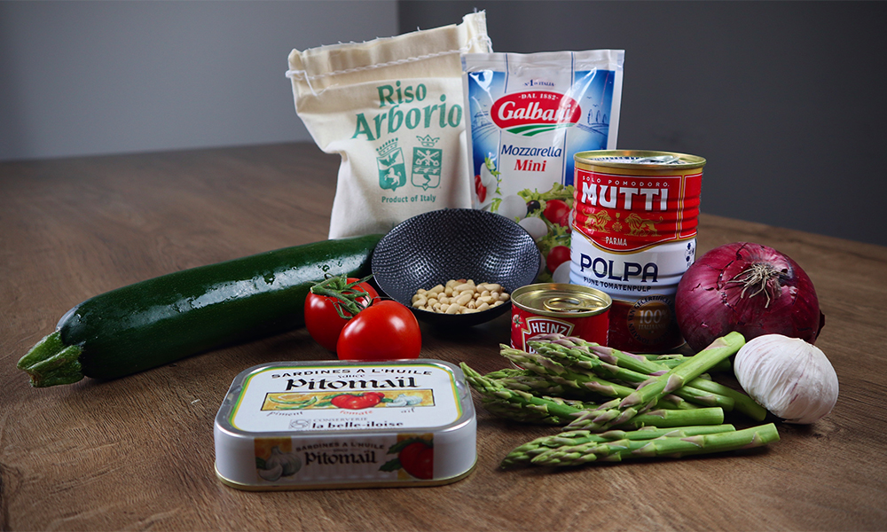ingredienten voor tomatenrisotto met sardines