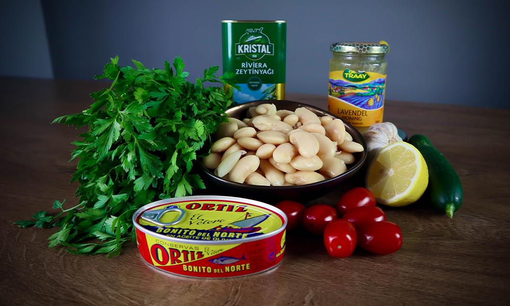 Ingrediënten Toscaanse bonensalade met witte tonijn